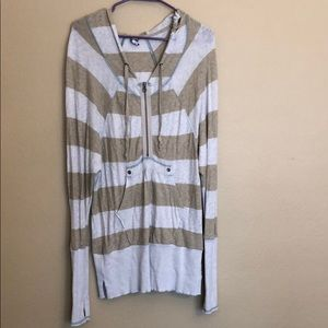 Free People Striped 1/2 Zip Hooded Tunic Shirt S